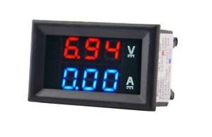 Digital LED 100V Voltmeter,  10A Ammeter, Panel mount volt amp meter  *UK seller