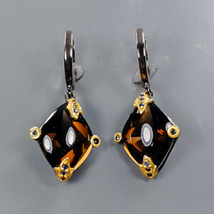 One of a kind Smoky Quartz Earrings Silver 925 Sterling   /E57959