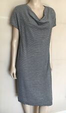 MARINA RINALDI,Thin Soft Knit,Striped,Wool/Viscose,Grey Dress,M,18/20