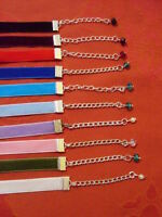 Adjustable 10m velvet chokers colours gothic/pagan/wican made to size crystal