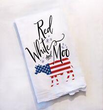 Set of 3 Summer Tea Towels - 4th of July American - Hello Sunshine - Mason Jar