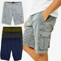 Mens Washed Cargo Heavy Combat Shorts Twill Cotton Casual Work Summer Pants UK