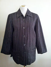 Maggie T size 14 black & grey striped linen long sleeve shirt with side splits