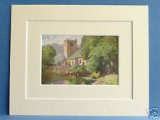 GRASMERE CHURCH CUMBRIA VINTAGE 1908 MOUNTED PRINT 10X8