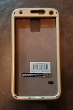 Samsung Galaxy S5 Case 3 pc. Brown Rubber w Gold Tone Hard Shell Front /Back