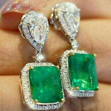 "8.62Ct Diamond/Emerald 10K White Gold Drop Dangle Earrings 1.4"""