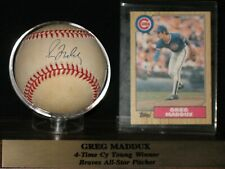 GREG MADDUX  stacks of plaques coa  AUTOGRAPHED BASEBALL with WITH ROOKIE CARD