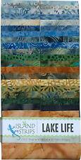 "Island Batik Lake Life Green Brown Blue Batiks Jelly Roll Strips Pack 40 2.5"""