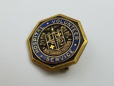 Vintage Enamel Blue Gold Tone Hospital Volunteer Service Lapel Pin Octagon Award
