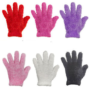 Womens Ladies Feather Touch Soft Gloves Warm Fluffy Thermal Cosy Winter Wear