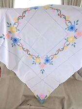 Art Deco Tablecloth Hand Embroidered Square Applique Table Cover Cloth Vintage