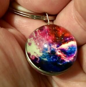 New Colourful Galaxy Glass Globe Keyring Keychain Gift Stocking Filler Q123