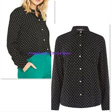 OASIS BLACK WHITE TINY HEART PRINT SMART CASUAL SHIRT BLOUSE TOP SZ 8-12 £39 NEW