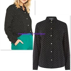 OASIS BLACK WHITE TINY HEART PRINT SMART CASUAL SHIRT BLOUSE TOP SIZE 10 £39 NEW