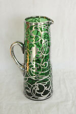 ANTIQUE EMERALD GREEN ART GLASS HEAVY QUALITY STERLING SILVER OVERLAY TANKARD