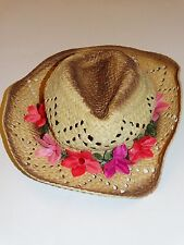 NWOT JUSTICE GIRLS FLOWER STRAW COWBOY HAT RHINESTONES JEWELS  SUMMER HAT