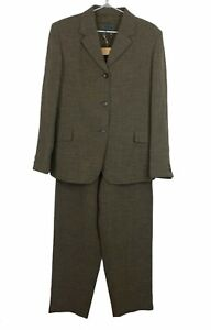 Country Road Womens Brown Tweed Lined Suit Jacket Size 12 Pants Size 12