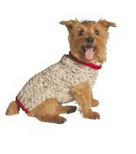 Chilly Dog Oatmeal with Red Trim Dog Sweater  M