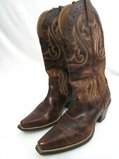 Women's 6.5 B M Ariat Cowgirl Boots Point Toe Brown Leather
