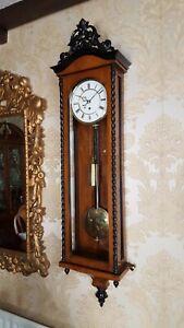 Antique single weight Austrian Vienna regulator wall Clock. Biedermeier style .