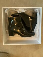 Other Stories Ankle Boots 5 Patent Gold Zip Black Gloss