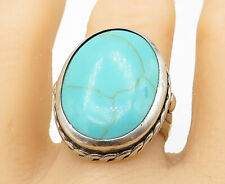 SOUTHWESTERN 925 Silver - Turquoise Twist Trim Oval Cocktail Ring Sz 9 - R10596