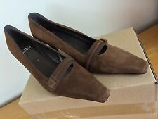 "STUART WEITZMAN 8.5 M Brown Suede 2.5"" Kitten Heels Square Toe Shoes"