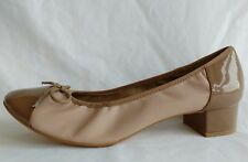 Dune Womens Ladies Beige Ballerina Ballet Pumps Leather Shoes Size 7.5/41 Used