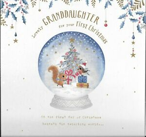LARGE CHRISTMAS CARD FOR A LOVELY GRANDDAUGHTERS 1st CHRISTMAS - SNOWGLOBE