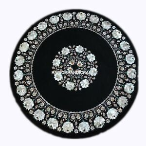 """30"""" Black Marble Furniture Table Top Inlay Gemstone Mother of Pearl Decor H4348B"""