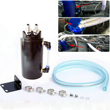 Universal Black Aluminum Cylinder Oil Catch Radiator Reservoir Tank Breather Can