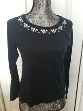 HOLLISTER Navy Blue  M Rhinestone Embellished Lace Raglan Knit Shirt Top Blouse