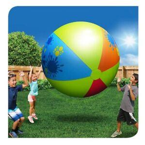 "66"" Banzai SPLASH Multi-Color Inflatable BEACH BALL Vintage Pool Toy RARE No Box"