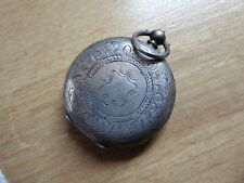 PRETTY ANTIQUE SILVER  FOB /  POCKET WATCH NICE WORKING WITH A KEY