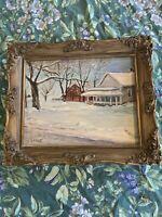 """Antique Oil Painting Framed Signed 12x10"""" Winter Snow Scene Rural Barn"""