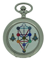 New Vintage Masonic Tree Of Life Quartz Silver Case Pocket Watch and Chain Boxed