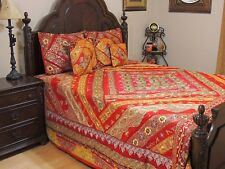 Bridal Red Indian Inspired Bedding Set - Sari Quilted Duvet Pillow Shams ~ King