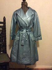 VINTAGE 1960's - 70's LILLI ANN METALLIC BLUE SPY TRENCH RAIN COAT S-M