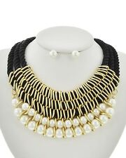 Black Cord and Cream Pearl Necklace Earrings Set Fashion Jewelry for Women