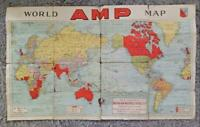 Vintage AUSTRALIAN MOTORISTS PETROL Co, AMP, WORLD MAP, Pre-Ampol c1940 WW2 Era