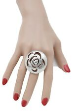 Women Silver Metal Ring Fashion Jewelry Big Flower Round Floral One Size Band