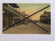 ANTIQUE VINTAGE COLOUR PHOTO POSTCARD OLD  SOUTH TCE FREMANTLE TRAMS BUILDINGS