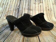 COACH Black Suade Clogs - Size 8B