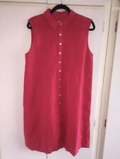 East John Lewis Magenta Pink Pure Linen Shirt Oversized Shirt Dress Maxi Size 10