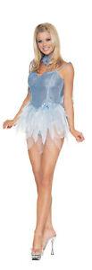 SEXY BLUE GLITTER PIXIE FAIRY DRESS ORGANZA SKIRT & WINGS COSTUME SIZE L UA8036