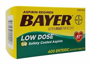 400 Enteric Coated 81 Mg Tablets BAYER LOW DOSE ASPIRIN (NSAID) Pain Reliever