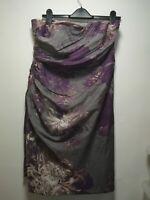 Monsoon Grey Purple 100% Silk Bandeau Dress - Size 16 (110)