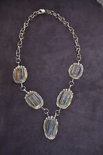 Beautiful Handmade Sterling Silver and Rainbow Calsilica Necklace