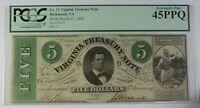 1862 Cr. 13 $5 Virginia Treasury Note PCGS Extremely Fine 45 PPQ Civil War CW