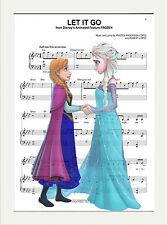 MUSIC SHEET SCORE PAGE ART PRINT POSTER VINTAGE STYLE, FROZEN ELSA LET IT GO